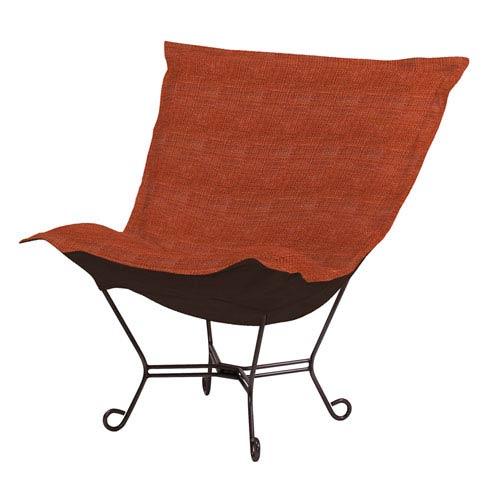 Howard Elliott Collection Coco Topaz Puff Chair with Titanium Frame