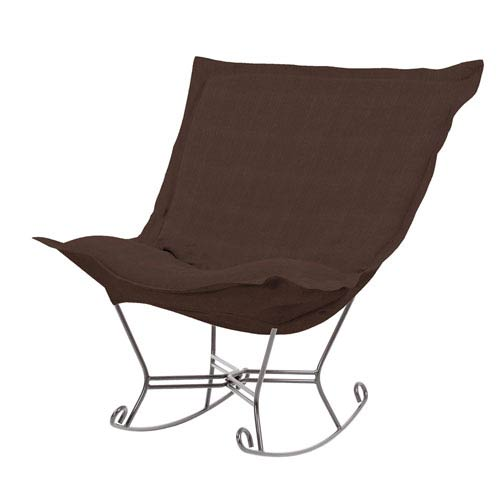 Howard Elliott Collection Sterling Chocolate Puff Rocker with Titanium Frame