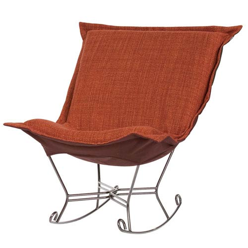 Howard Elliott Collection Coco Coral Puff Rocker with Titanium Frame