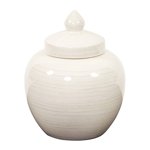 Iridescent White Round Ceramic Urn