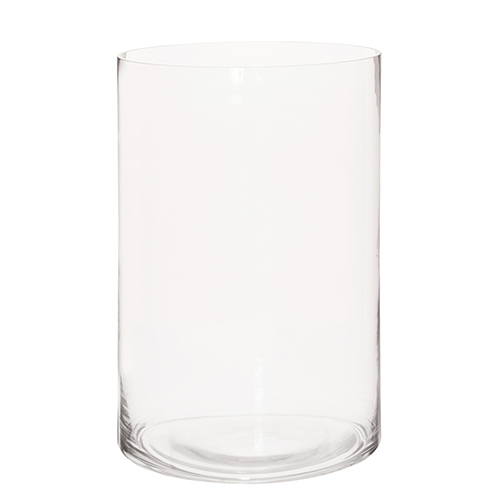 Clear Hand Blown Glass Cylinder Vase, Wide
