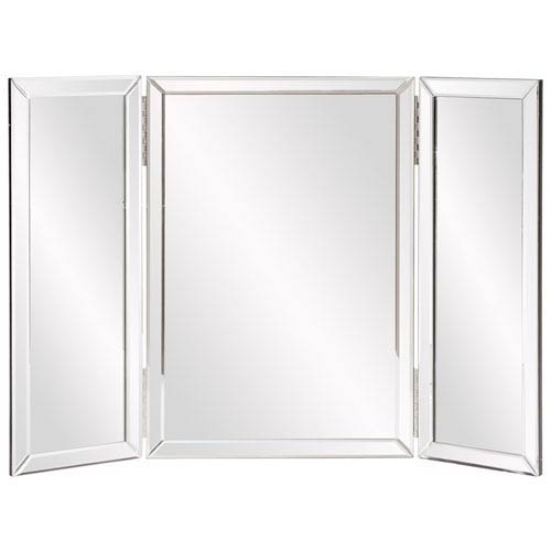 Tripoli Trifold Glass Tabletop Vanity Mirror