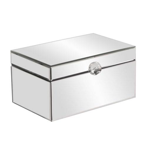 Clear Mirrored Small Decorative Box with Acrylic Handle