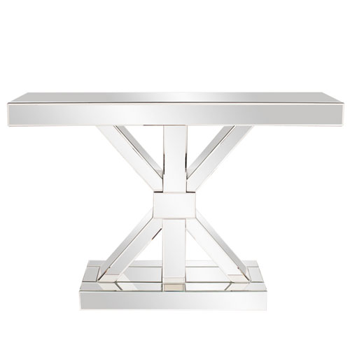 Howard Elliott Collection Mirrored X Shaped Console Table