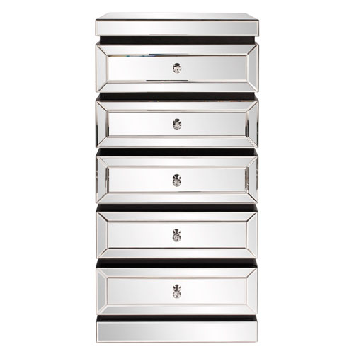 Howard Elliott Collection 5-Tiered Mirrored Tower w/ Drawers