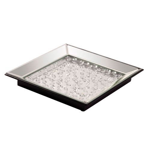 Mirrored Tray with Crystal Accents