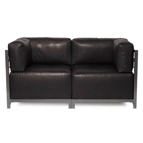 Howard Elliott Collection Axis Avanti Black 2-Piece Sectional Sofa with Titanium Frame