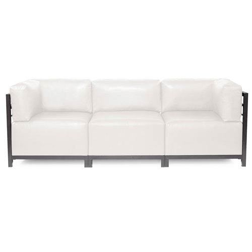 Charmant Howard Elliott Collection Axis Avanti White 3 Piece Sectional Sofa With  Titanium Frame