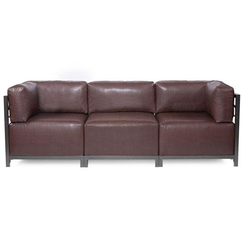 Axis Avanti Pecan 3-Piece Sectional Sofa with Titanium Frame