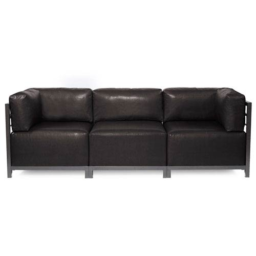 Howard Elliott Collection Axis Avanti Black 3-Piece Sectional Sofa with Titanium Frame