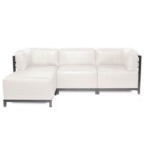 Merveilleux Howard Elliott Collection Axis Avanti White 4 Piece Sectional Sofa With  Titanium Frame