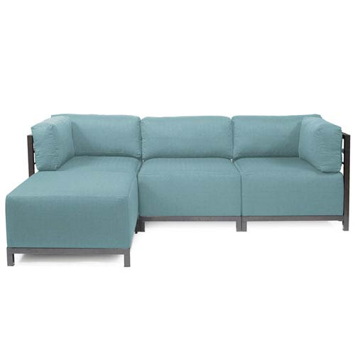 Attrayant Howard Elliott Collection Axis Light Blue 4 Piece Sectional Sofa With  Titanium Frame