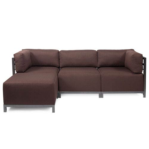 Howard Elliott Collection Axis Chocolate Brown 4-Piece Sectional Sofa with Titanium Frame