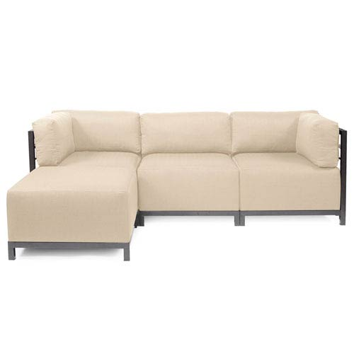 Howard Elliott Collection Axis Sand 4-Piece Sectional Sofa with Titanium Frame