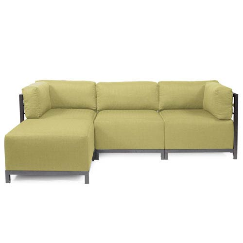 Howard Elliott Collection Axis Willow Green 4-Piece Sectional Sofa with Titanium Frame