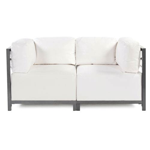 Axis Atlantis White Outdoor 2-Piece Sectional Sofa with Titanium Frame