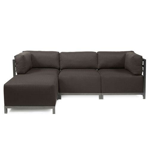Axis 4-Piece Seascape Charcoal Sectional with Titanium Frame