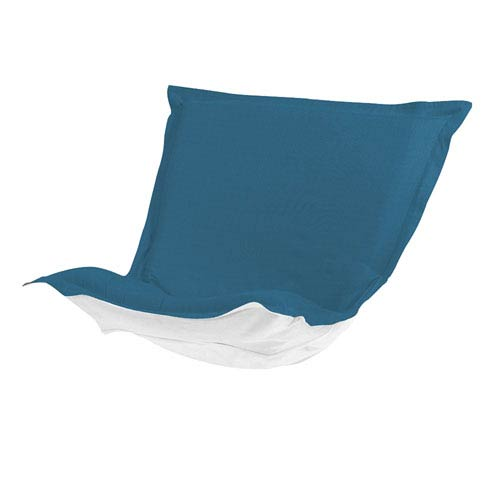 Howard Elliott Collection Puff Seascape Turquoise Chair Cushion