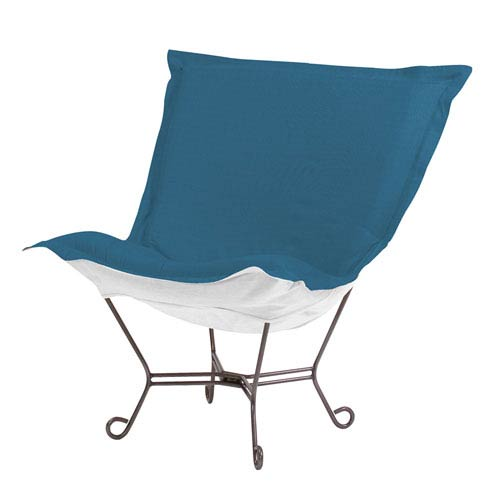 Howard Elliott Collection Scroll Puff Seascape Turquoise Chair with Titanium Frame