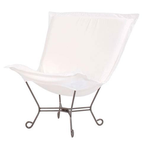 Scroll Puff Seascape Natural Chair with Titanium Frame