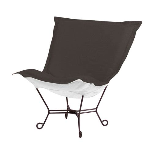 Scroll Puff Seascape Charcoal Chair with Mahogany Frame