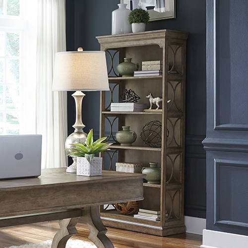 Simply Elegant Heathered Taupe 74-Inch Bookcase