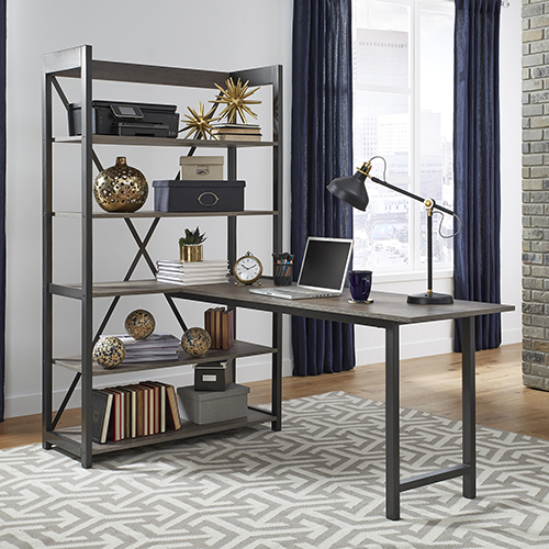 Tanner Creek Graystone 72-Inch Desk and Bookcase Set