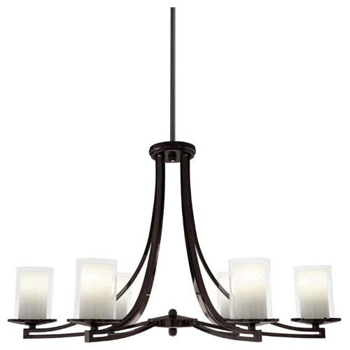 DVI Lighting Essex Oil Rubbed Bronze 35.5-Inch Six-Light Chandelier with Opal Glass