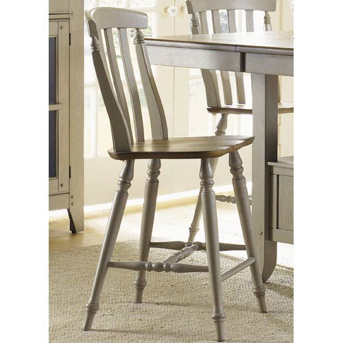 Liberty Furniture Al Fresco Driftwood and Taupe Slat Back Counter Height Chair