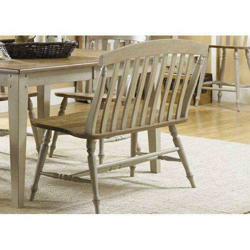 Liberty Furniture Al Fresco Driftwood and Taupe Slat Back Bench