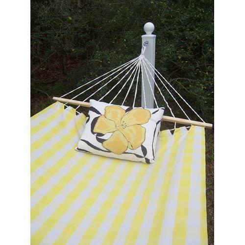 Gingham Yellow Hammock Set with Yellow Flower Print Pillow