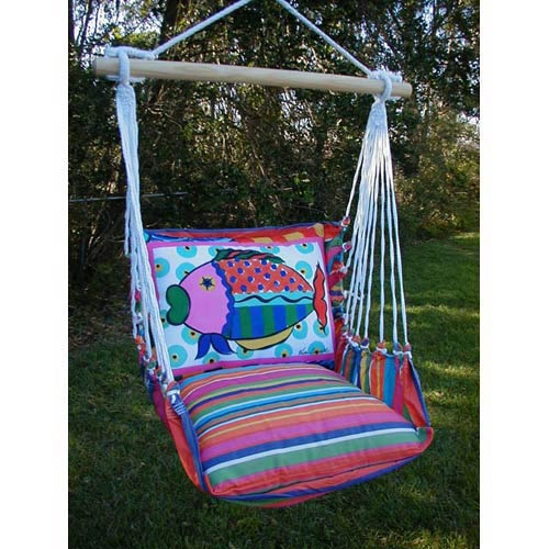 Magnolia Casual Le Jardin Stripe Swing Hammock with Fish Pillow