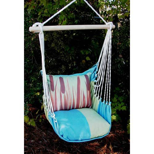 Meadow Mist Stripe Swing Hammock with Cattails Print Pillow