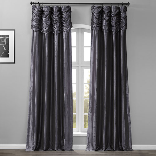 Ruched Graphite 84 x 50-Inch Faux Silk Taffeta Curtain Single Panel