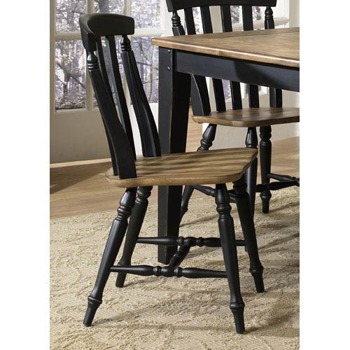 Liberty Furniture Al Fresco II Driftwood and Black Slat Back Side Chair