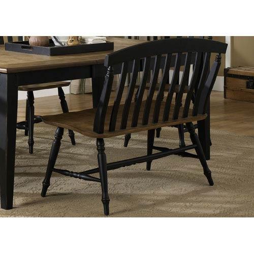 Liberty Furniture Al Fresco II Driftwood and Black Slat Back Bench