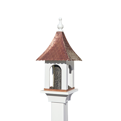 Large Seed Capacity Bird Feeder with Pure Copper Roof, Composite PVC Base