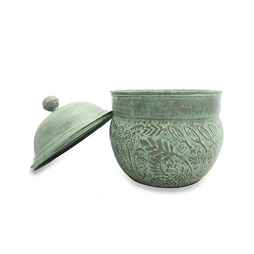 Good Directions Brass Key West Hose Pot with Lid - Blue Verde