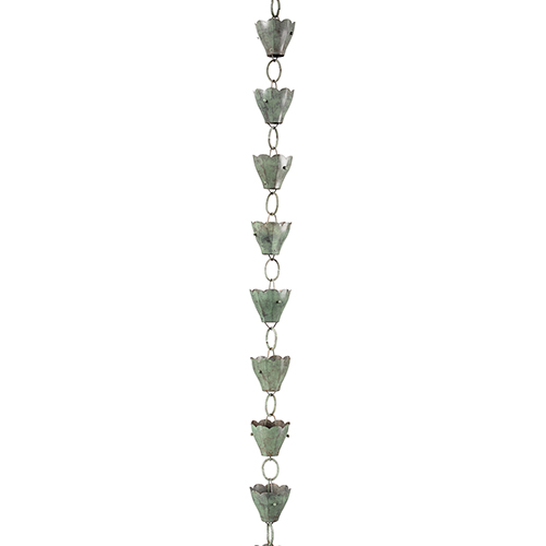 Good Directions 13 Cup Tulip Pure Blue Verde Copper 8.5-Foot Rain Chain Leader