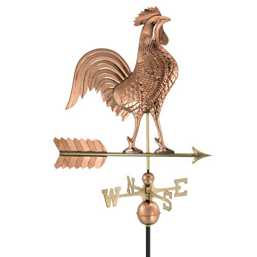Polished Copper 27-Inch Rooster Weathervane