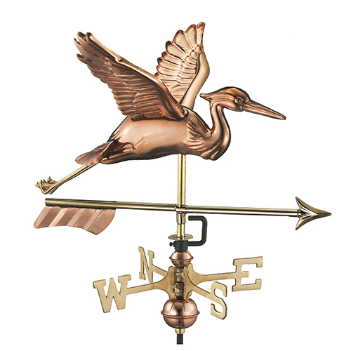 Good Directions Blue Heron with Arrow Garden Weathervane - Pure Copper with Garden Pole