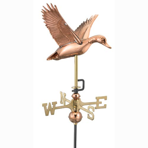 Good Directions Flying Duck Polished Copper Weathervane with Roof Mount