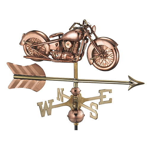 Good Directions Motorcycle with Arrow Cottage Weathervane - Pure Copper with Roof Mount