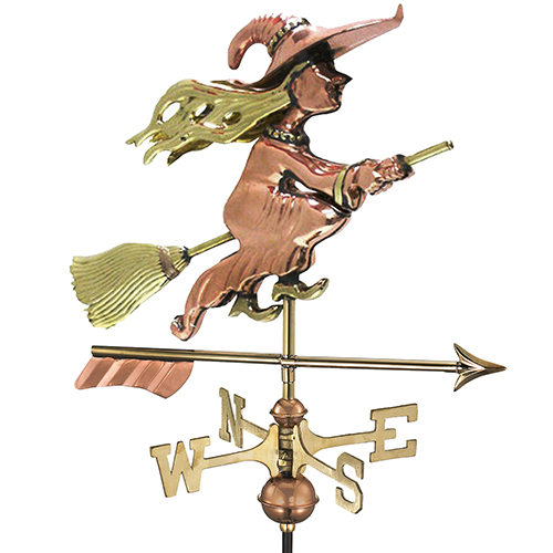Good Directions Witch with Arrow Garden Weathervane - Pure Copper with Garden Pole