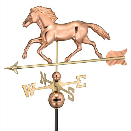 Good Directions Smithsonian Running Horse Polished Copper 18-Inch Standard Weathervane