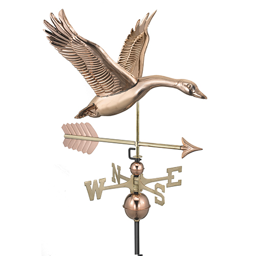 Good Directions Feathered Goose with Arrow Weathervane - Pure Copper