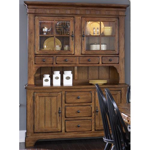 Treasures Rustic Oak Buffet and Hutch