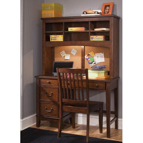 Chelsea Square Burnished Tobacco Student Desk with Hutch