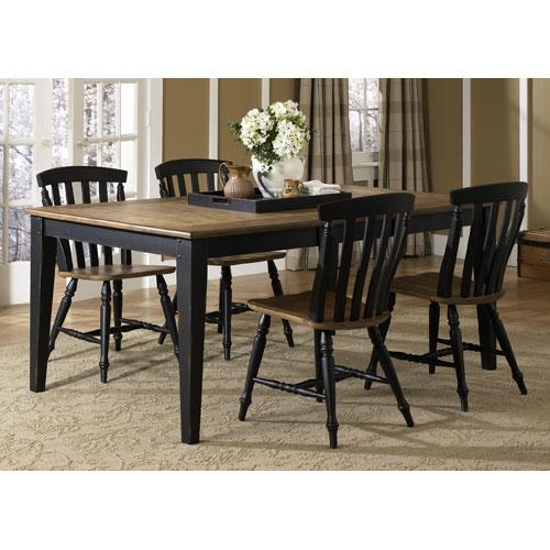 Liberty Furniture Al Fresco II Driftwood and Black Rectangular Leg Table with Chairs