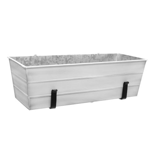 Cape Cod White 24-Inch Flower Box with Clamp-On Bracket
